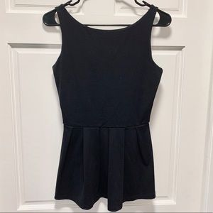 Black Peplum Top with Scoop Back